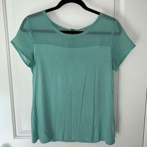 EUC Halogen turquoise mixed media blouse